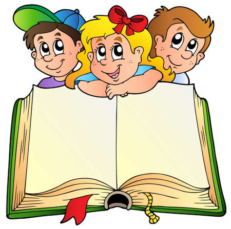 primary: Three children with opened book