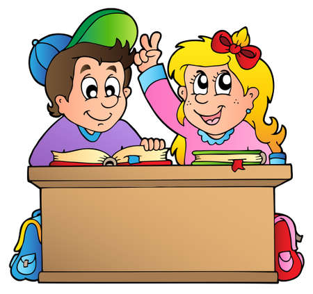 schoolbook: Two children at school desk