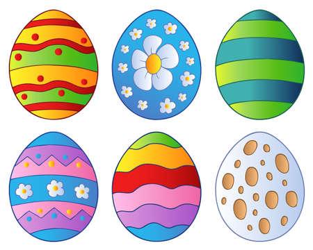 egg cartoon: Various Easter eggs  Illustration