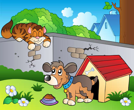 kitten cartoon: Backyard with cartoon cat and dog