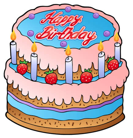 Birthday cake with strawberries  Vector