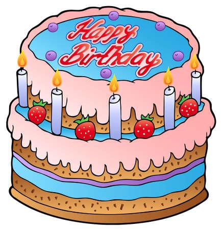 happy feast: Birthday cake with strawberries  Illustration