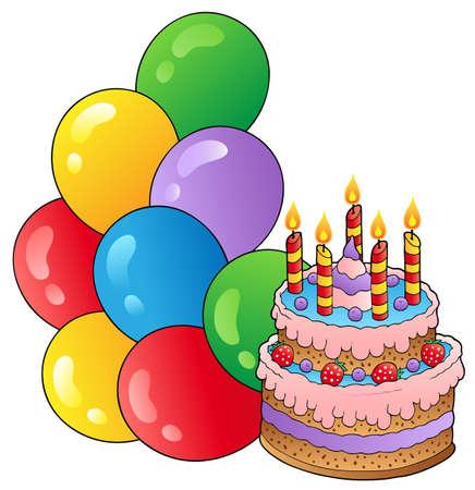 Thème anniversaire avec gâteau  Illustration