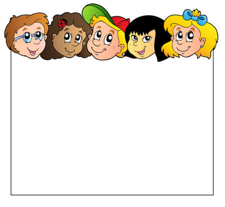 Blank frame with children faces  Ilustracja