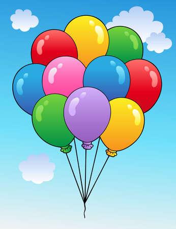 Blue sky with cartoon balloons Stock Vector - 9199566