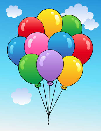 inflatable: Blue sky with cartoon balloons