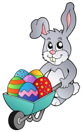 Bunny holding wheelbarrow with eggs  Vector