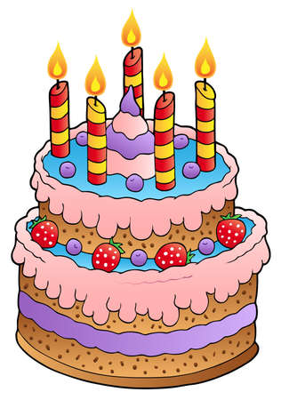 Cake with candles and strawberries  Vector