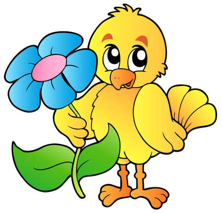 Chicken holding big flower  Stock Vector - 9199563