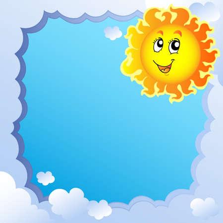 Cloudy frame with Sun  Иллюстрация