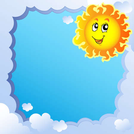 warm weather: Cloudy frame with Sun  Illustration