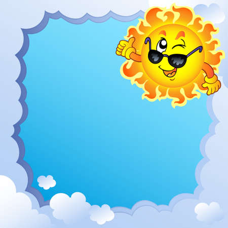 themes: Cloudy frame with Sun  Illustration