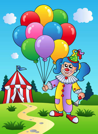 comedy show: Clown girl with balloons near tent  Illustration