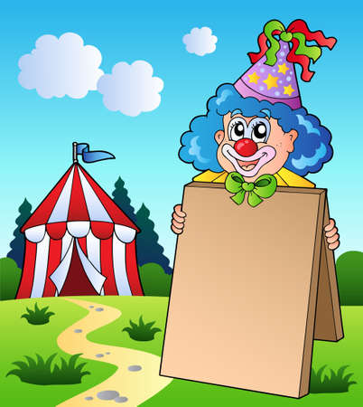 entertainment tent: Clown holding board near tent
