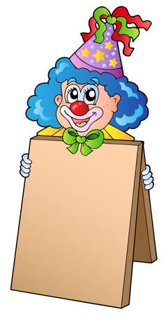 entertainer: Clown holding information board