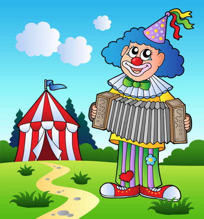 Clown playing accordion near tent  Vector