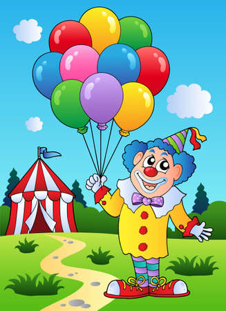 cartoon circus: Clown with balloons near tent