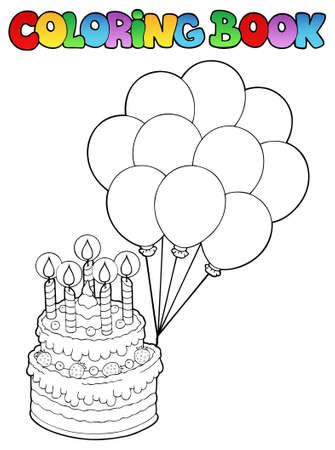 Coloring book with birthday cake Stock Vector - 9199441