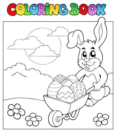 Coloring book with bunny and barrow  Vector