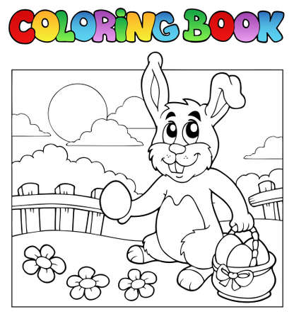 Coloring book with bunny and eggs  Vector