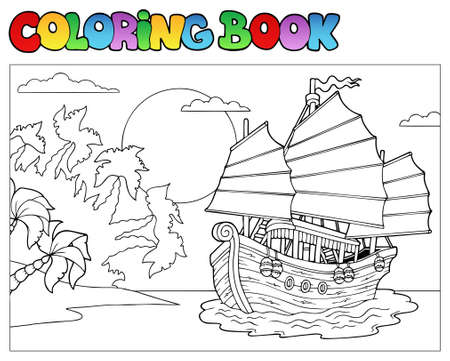 sun cartoon: Coloring book with Chinese ship  Illustration