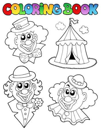entertainment tent: Libro para colorear con im�genes de payaso  Vectores