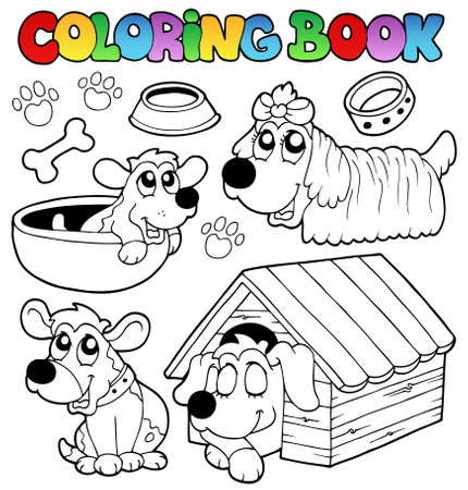 Coloring book with cute dogs  Vector