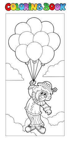 showman: Coloring book with flying clown  Illustration