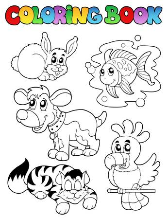 Coloring book with happy pets Stock Vector - 9199574