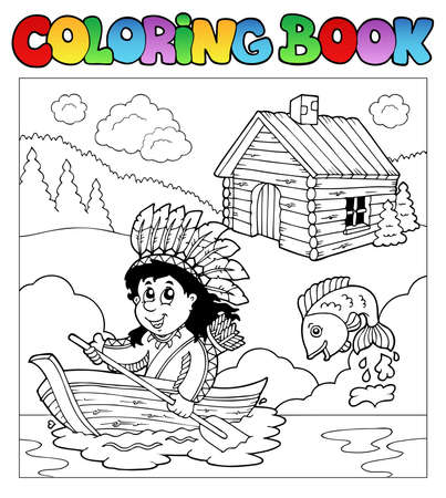 native american art: Coloring book with Indian in boat  Illustration