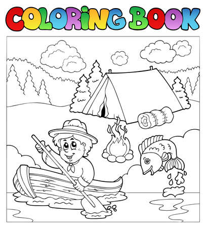 Coloring book with scout in boat  Vector