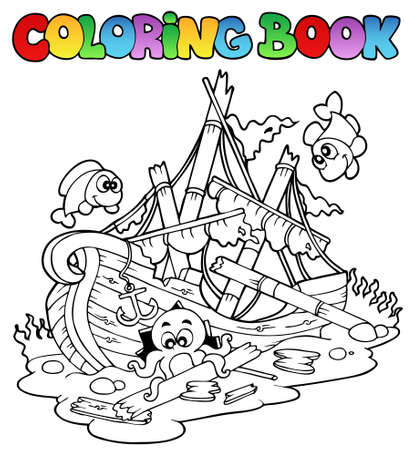 sunken: Coloring book with shipwreck