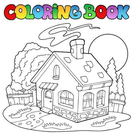 Libro para colorear con pequeña casa  Ilustración de vector
