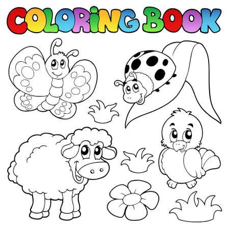 livre � colorier: Coloration du livre avec des animaux de printemps