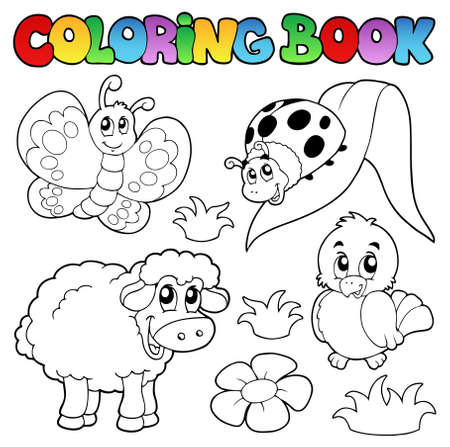 Coloring book with spring animals  Illustration