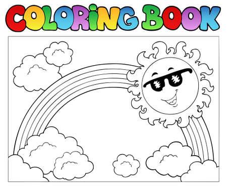 sol caricatura: Colorear libro con el sol y arco iris