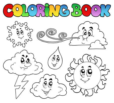 Coloring book with weather images  Vector