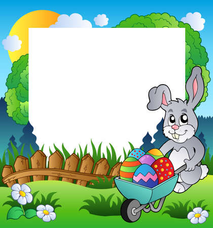 Easter frame with bunny and barrow  Vector