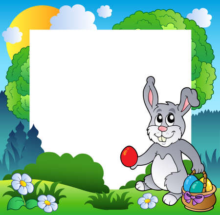 cartoon easter basket: Easter frame with bunny and eggs  Illustration