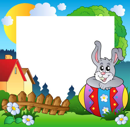 cartoon frame: Easter frame with egg and bunny