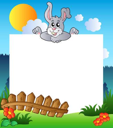 lurk: Telaio di Pasqua con bunny in agguato  Vettoriali