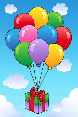 Floating gift with cartoon balloons  Vector