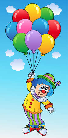 comedian: Flying clown with cartoon balloons  Illustration