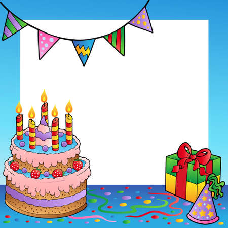 Frame with birthday theme  Vector