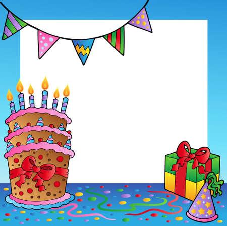 Marco con tema de cumpleaños  Ilustración de vector