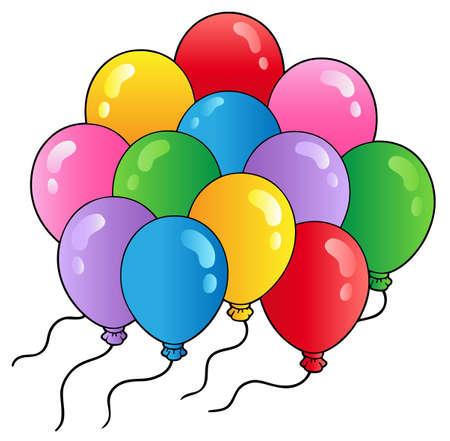 flying balloon: Group of cartoon balloons