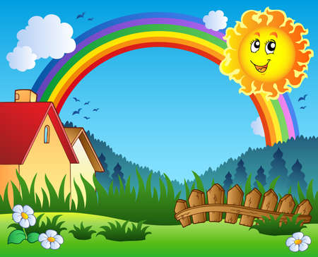 rainbow scene: Landscape with Sun and rainbow  Illustration