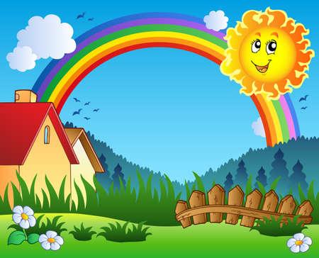 arcoiris caricatura: Paisaje con el sol y arco iris