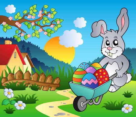 Meadow with bunny and wheelbarrow Stock Vector - 9199601