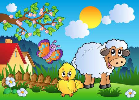 cartoon butterfly: Prado con animales feliz primavera